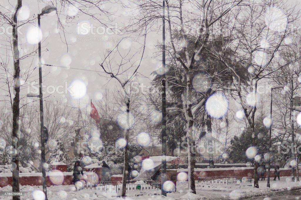 Enterance Of Harbiye Park In Snow stock photo