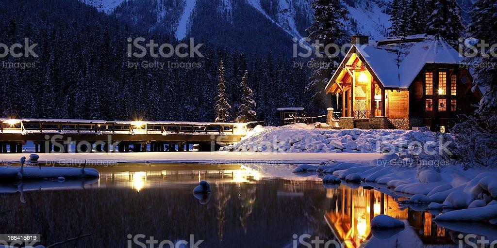 Entering a Magical Winter Wonderland stock photo