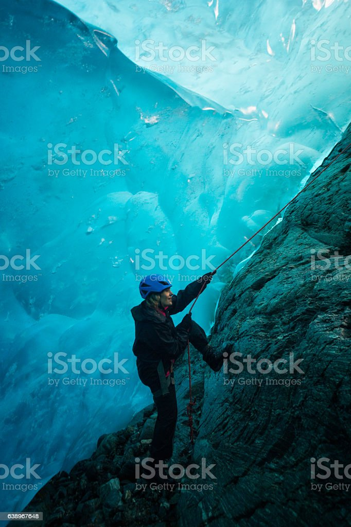 Entering a world of blue ice stock photo