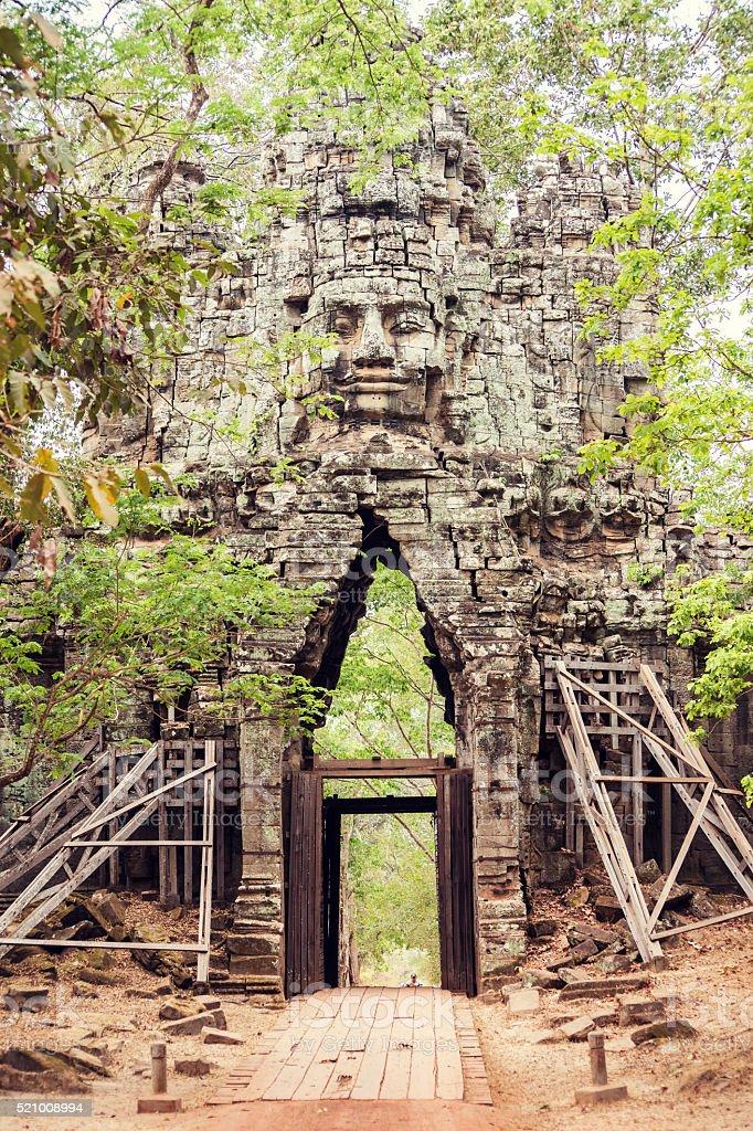 Entering Angkor Wat, Cambodia stock photo