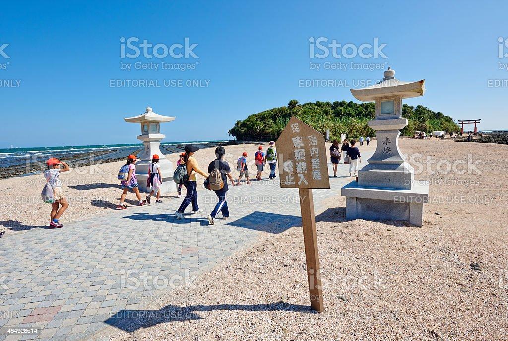 Entering at Aoshima Island stock photo
