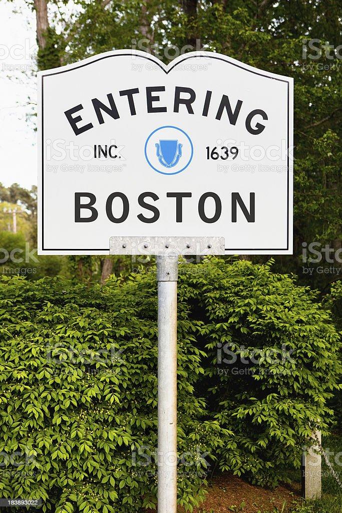 Entering Boston highway marker stock photo