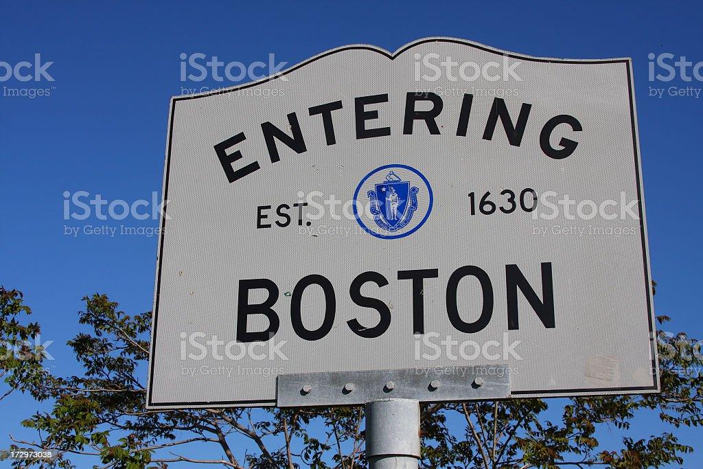 Entering Boston Sign stock photo