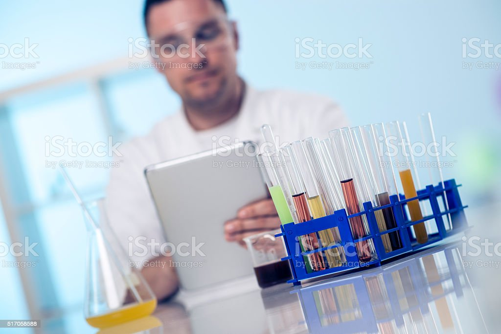 Entering experiment results stock photo