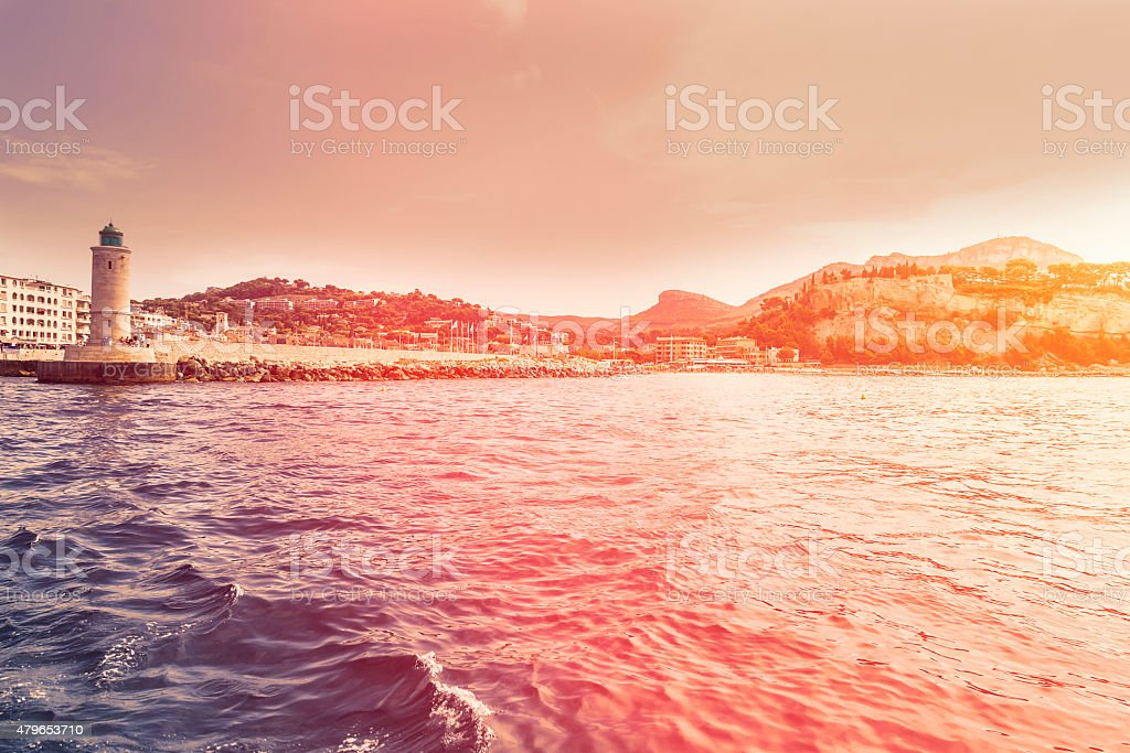 Entering into Port of Cassis - French Riviera stock photo