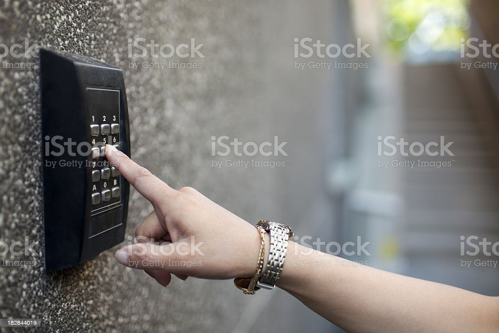 Entering keycode stock photo