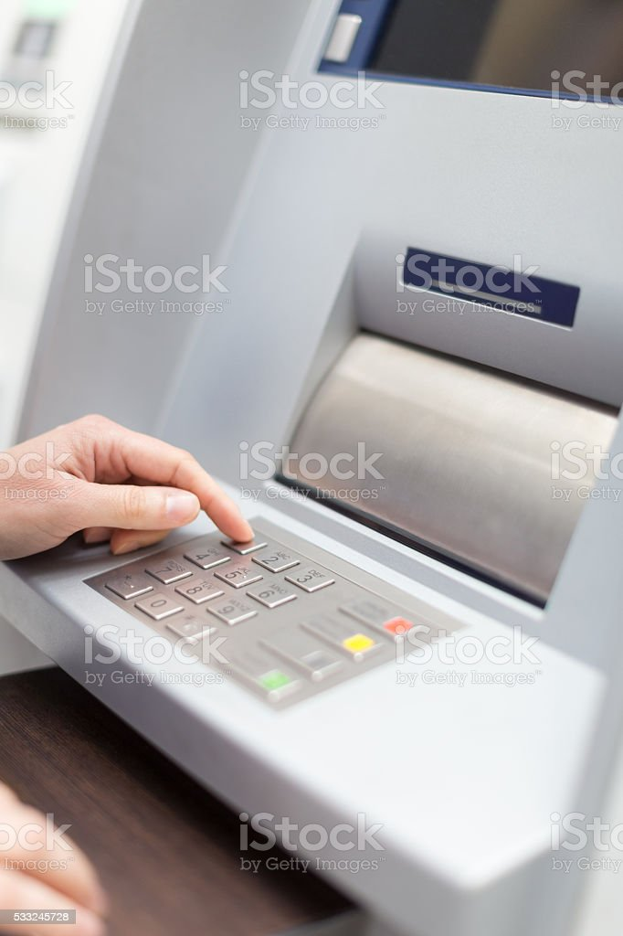 Entering PIN number stock photo
