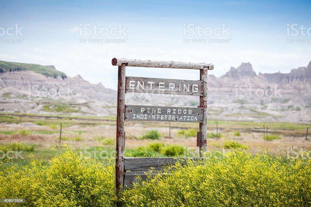 Entering Pine Ridge Indian Reservation, South Dakota, USA stock photo