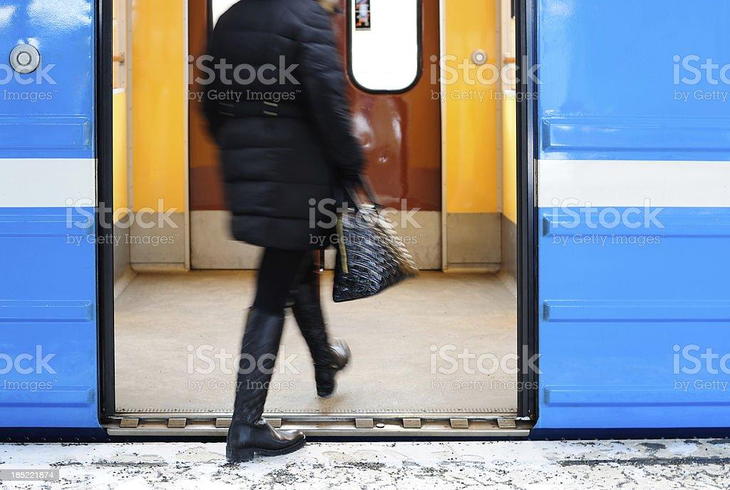 Entering subway train royalty-free stock photo