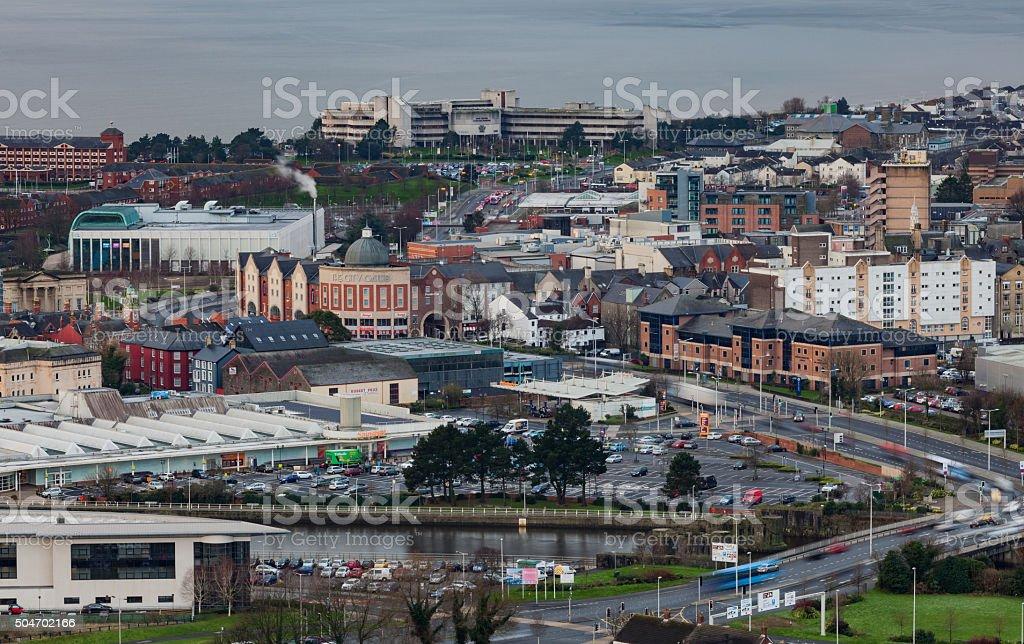Entering Swansea city stock photo
