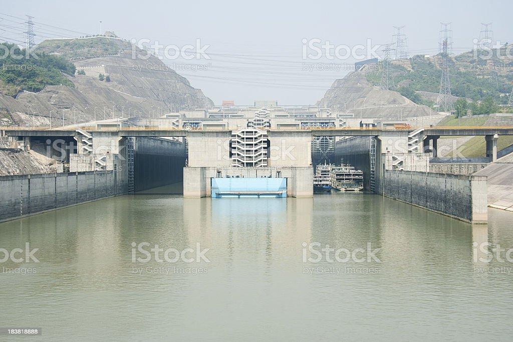 Entering the Locks at Three Gorges Dam stock photo