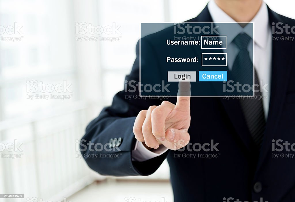 Entering the password stock photo