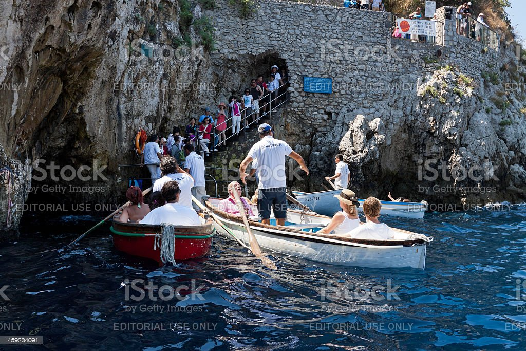 "Entering the ""Blue grotto"" of Capri stock photo"