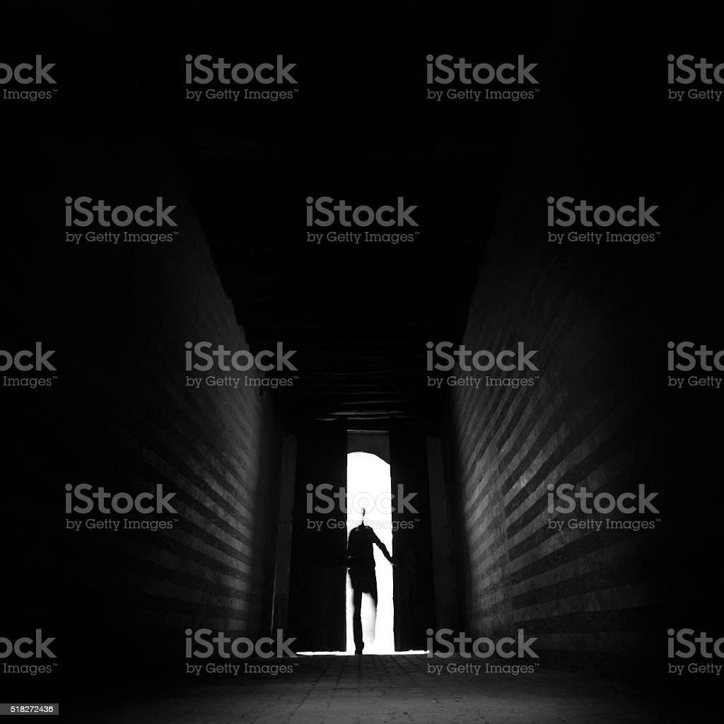 Entering the unknown. stock photo