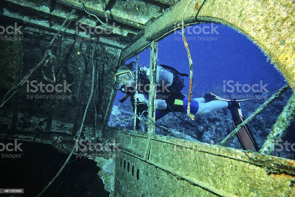 Entering the Wreck stock photo