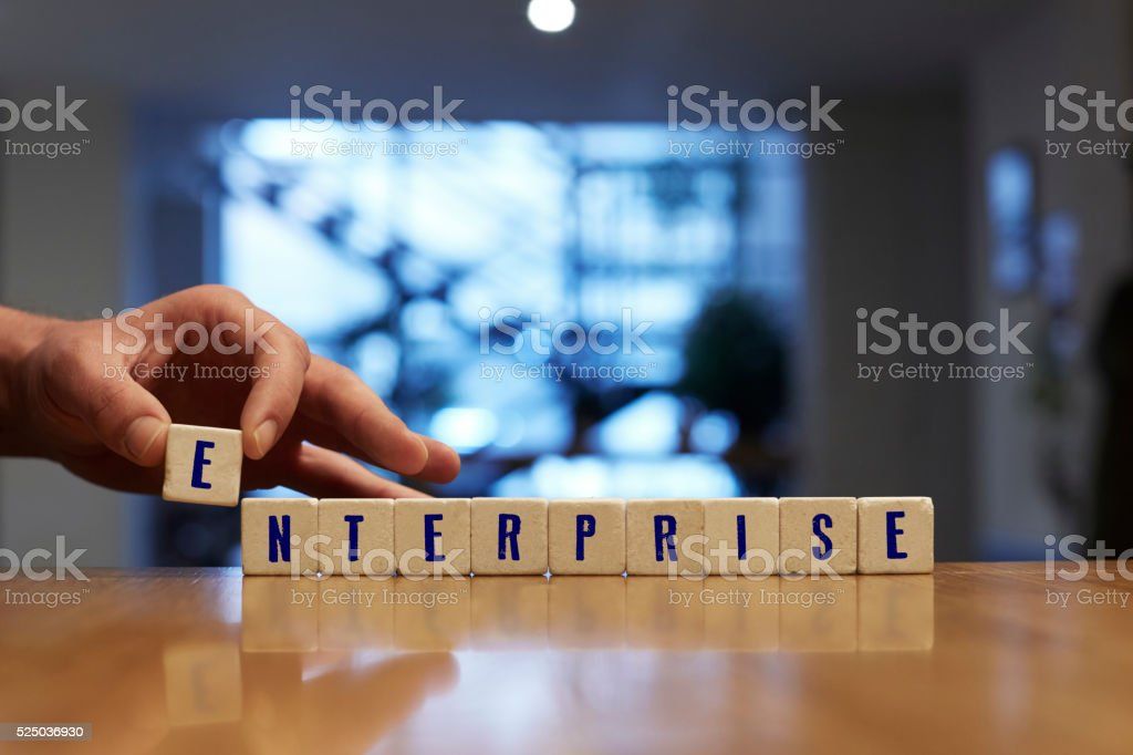 Enterprise Concept with Alphabet Blocks stock photo