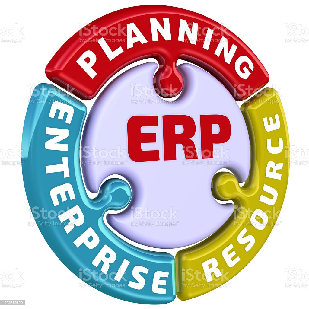 ERP. Enterprise resource planning. The check mark stock photo