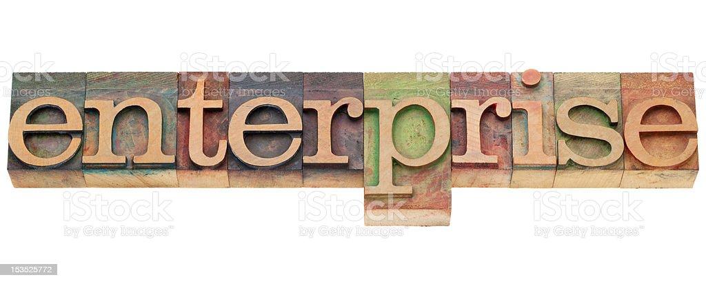 enterprise word in letterpress type stock photo