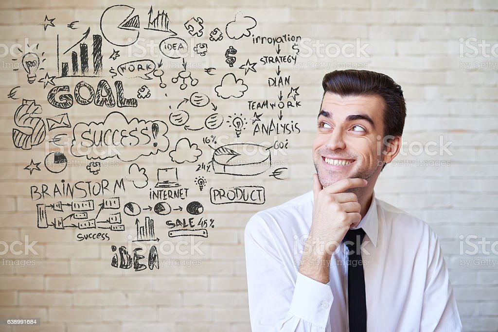Enterprising businessman and his business plan stock photo