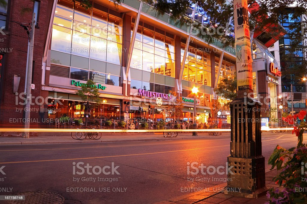 Entertainment District at Night stock photo