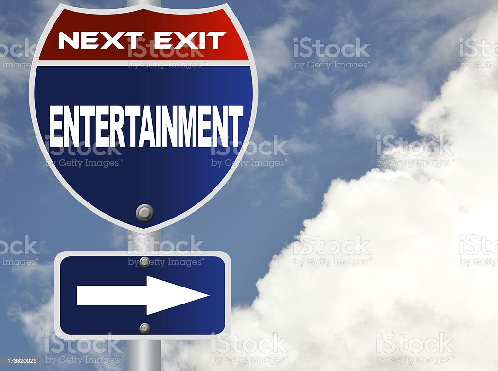 Entertainment road sign royalty-free stock photo