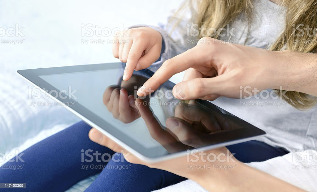 Entertainment with digital tablet stock photo