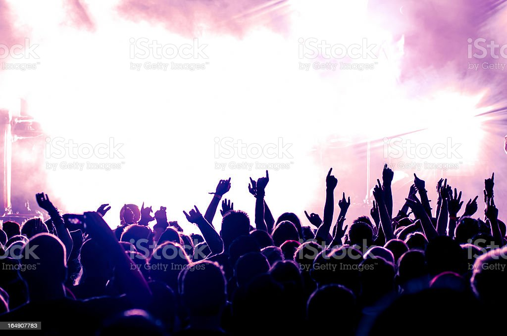 Enthusiastic audience at concert against bright stage royalty-free stock photo