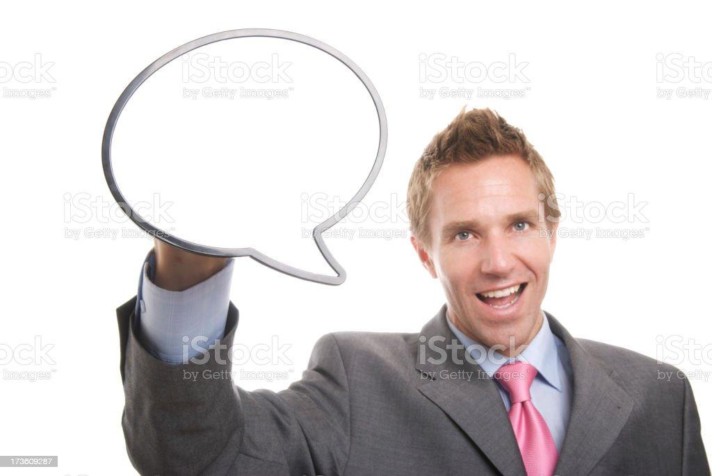 Enthusiastic Businessman w Speech Bubble White Background royalty-free stock photo