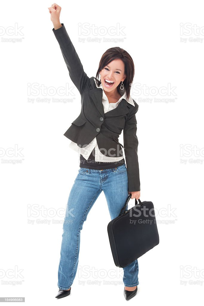 Enthusiastic Businesswoman in Jeans with Laptop Case royalty-free stock photo