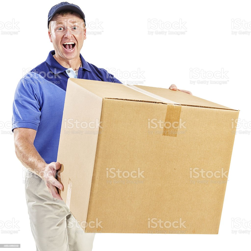 Enthusiastic Delivery Man royalty-free stock photo