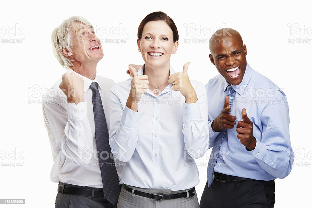 Enthusiastic group of executives royalty-free stock photo