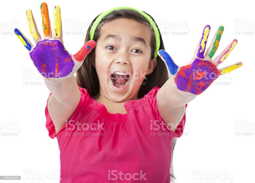 Enthusiastic Little Asian Girl With Painted Hands royalty-free stock photo