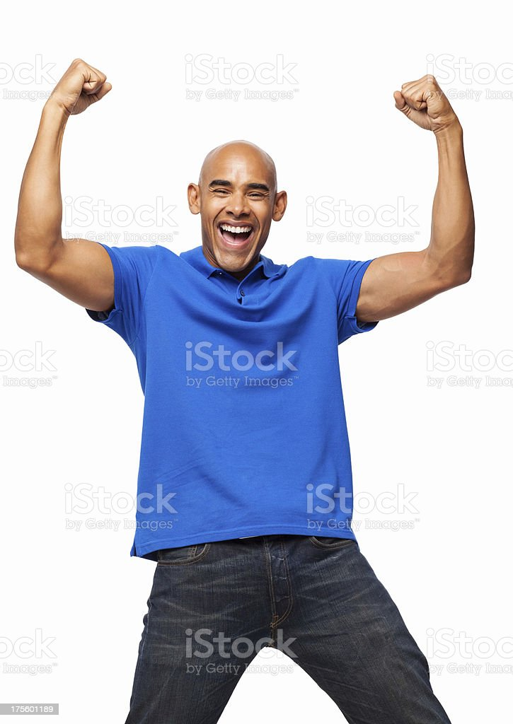 Enthusiastic Man Cheering With Clenched Fists - Isolated royalty-free stock photo