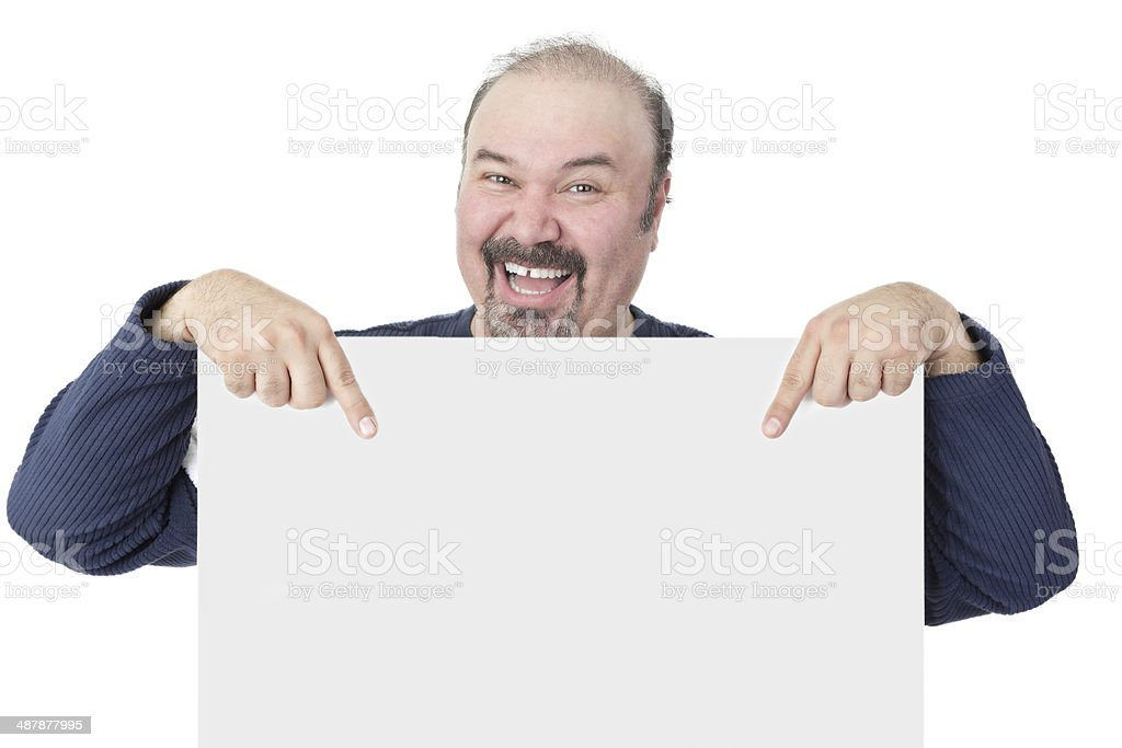 Enthusiastic man pointing to a blank white sign stock photo