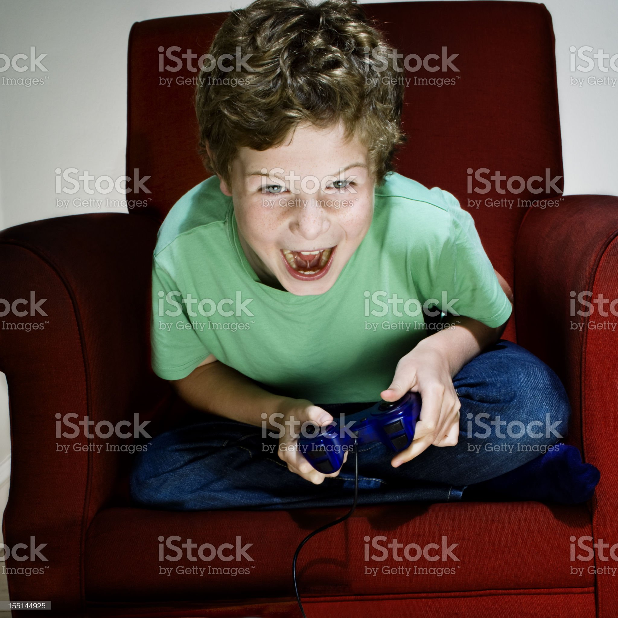 Enthusiastic Video Gamer Boy royalty-free stock photo