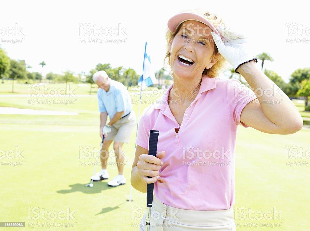 Enthusiastic woman enjoying the game stock photo