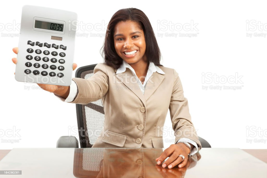 Enthusiastic Young African American Businesswoman Showing Calcul stock photo