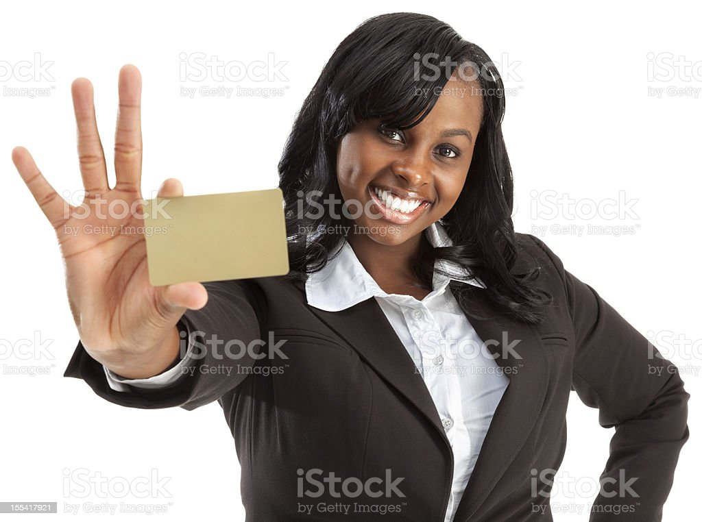 Enthusiastic Young African American Businesswoman with Blank Gold Credit Card stock photo