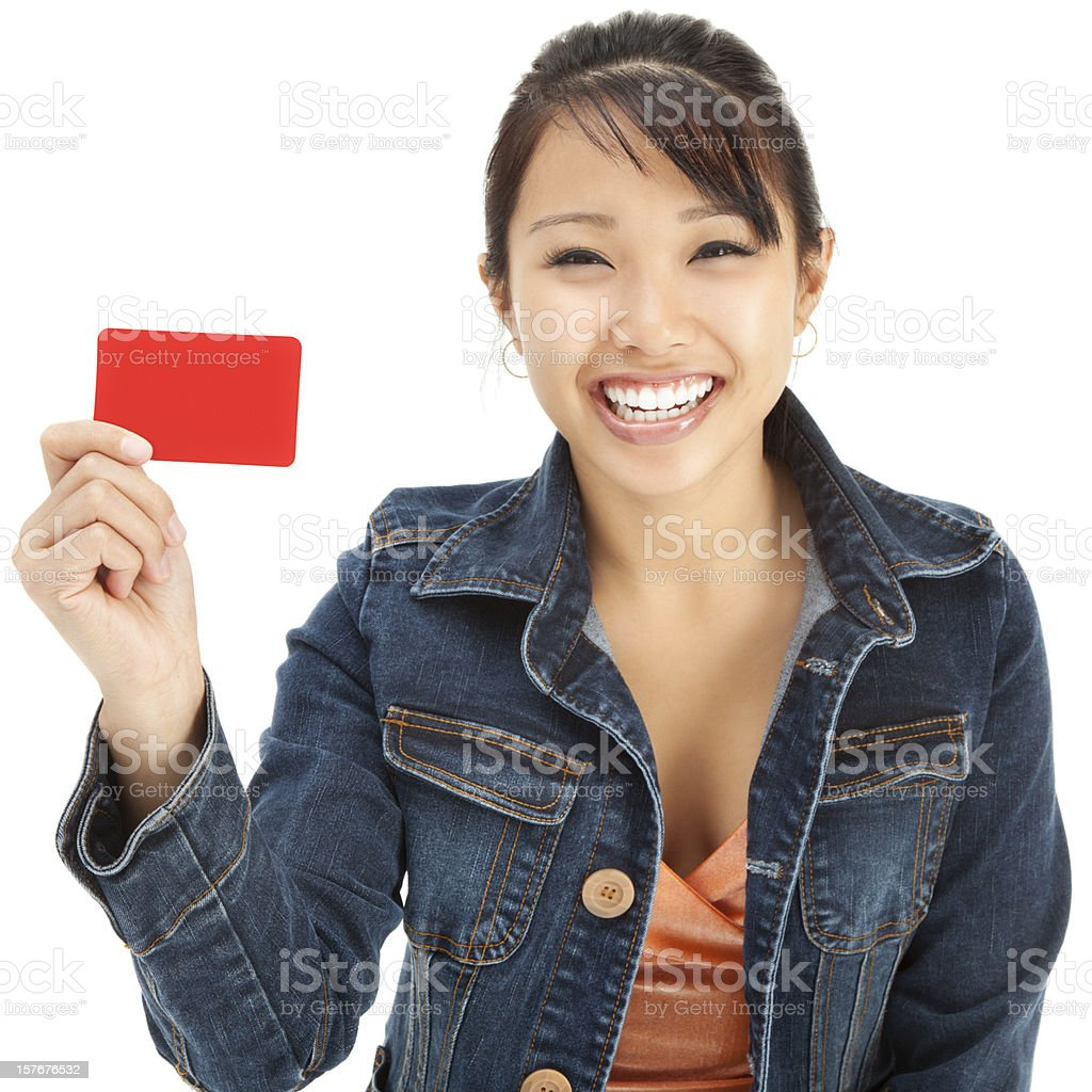 Enthusiastic Young Asian Woman with Blank Gift Card royalty-free stock photo