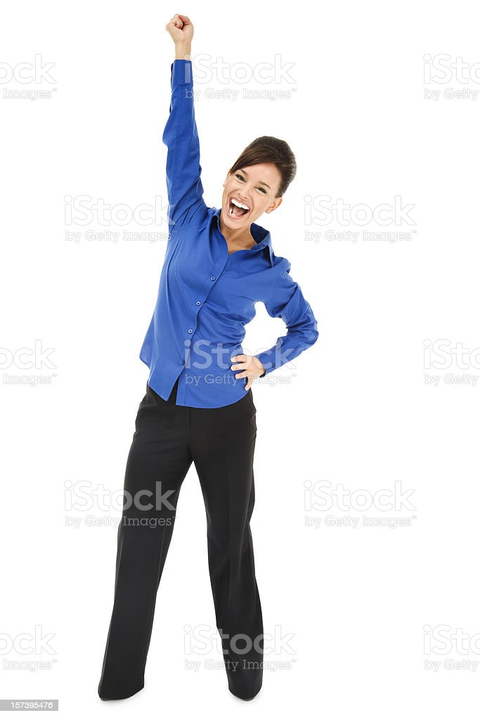 Enthusiastic Young Businesswoman in Blue royalty-free stock photo