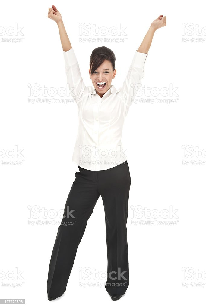Enthusiastic Young Businesswoman in White royalty-free stock photo