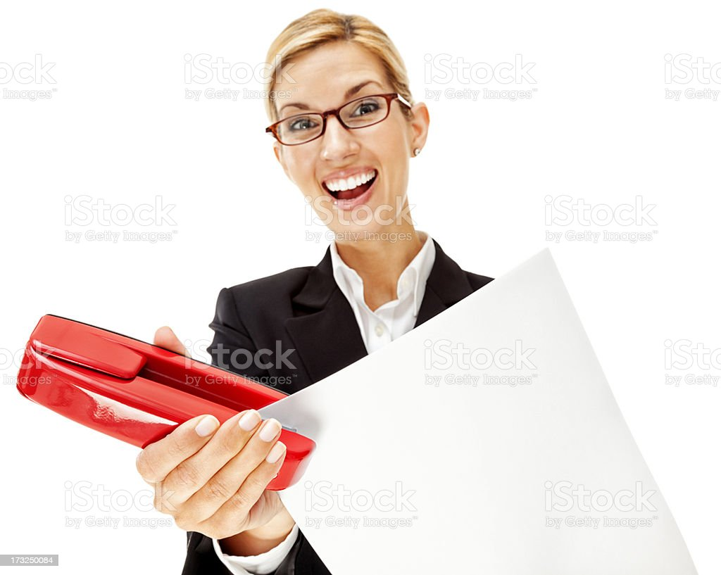 Enthusiastic Young Businesswoman with Red Stapler stock photo
