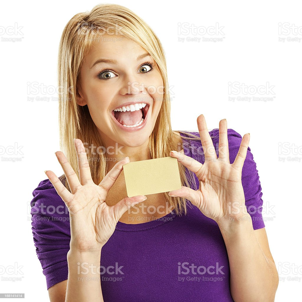 Enthusiastic Young Woman with Blank Gold Credit Card stock photo
