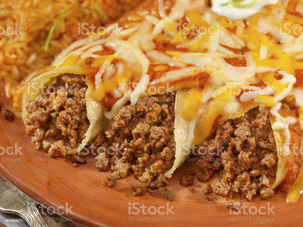 Entomadas or Beef Enchiladas stock photo