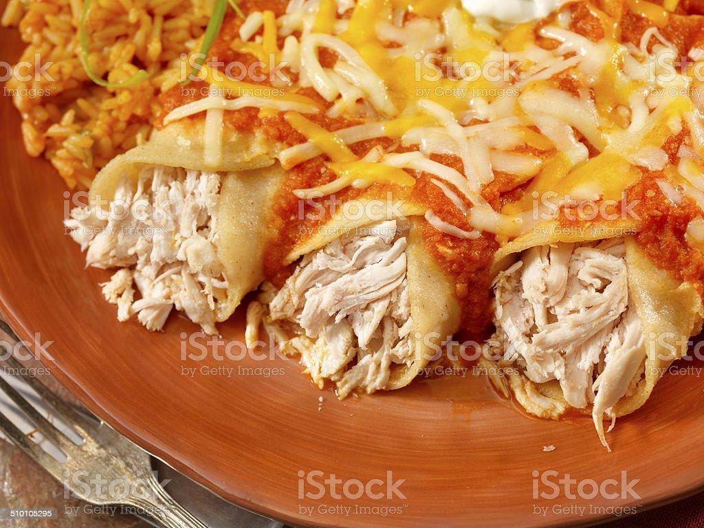 Entomadas or Chicken Enchiladas stock photo