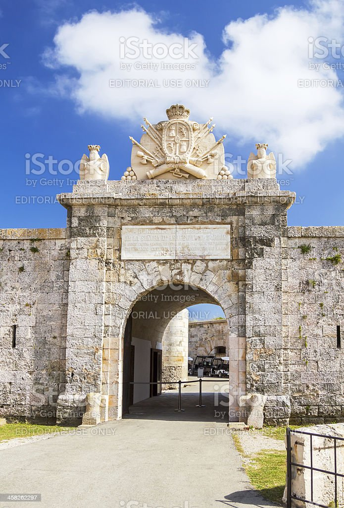 Entrabce gate of La Mola Fortress stock photo