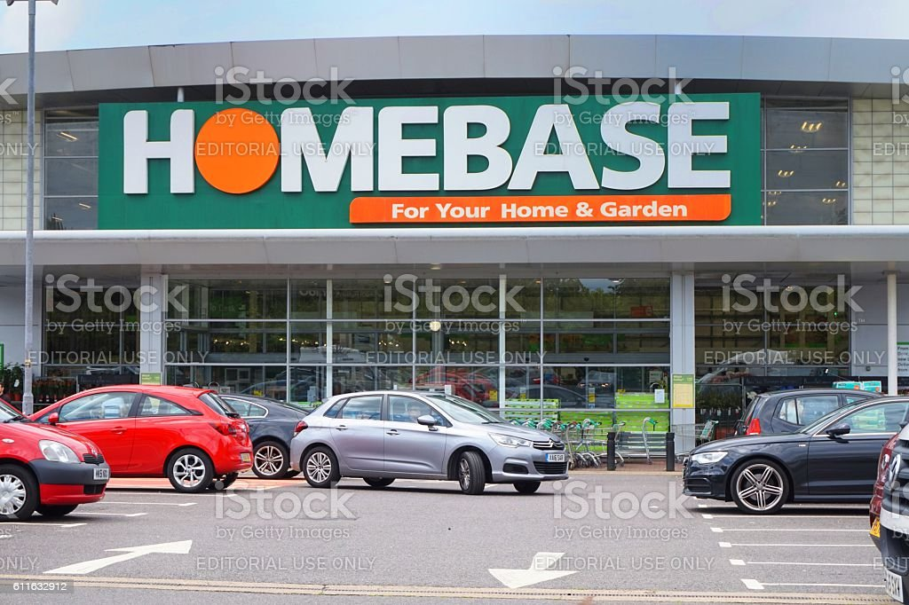 Entrance and car park of the HomeBase DIY home improvement stock photo