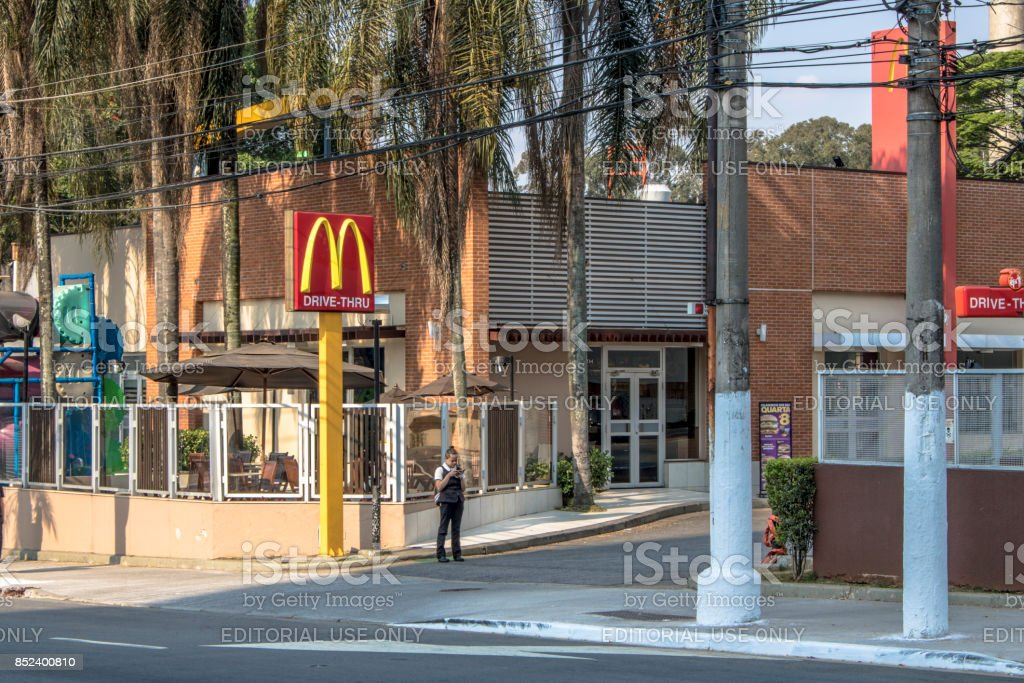 Entrance and façade of a Mc Donads fast-food stock photo
