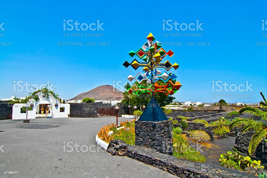 entrance and sculpure of an artist, Lanzarote,Spain stock photo