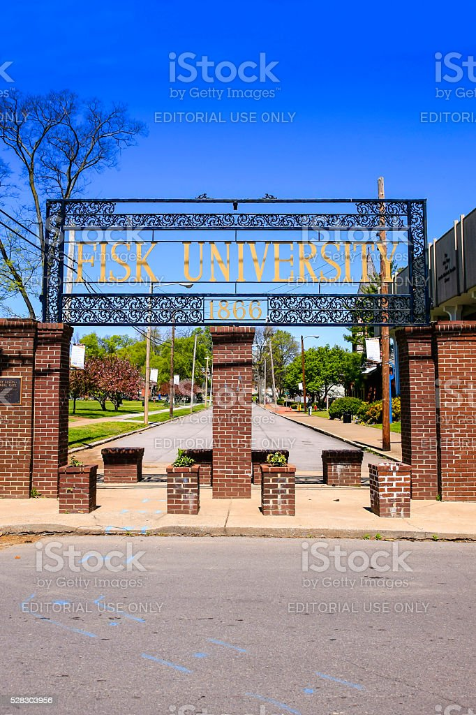 Entrance archway to Fisk University in Nashville, Tennessee. stock photo